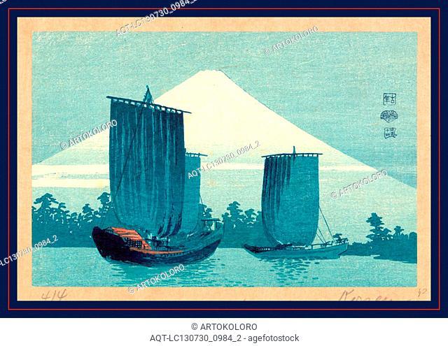 Fuji ni hansen, Sailboats and Mount Fuji., Uehara, Konen, 1878-1940, artist, [between 1900 and 1920], 1 print : woodcut, color ; 11.9 x 18.0 cm