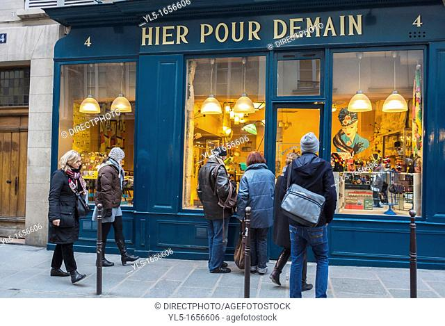 """Paris, France, People in Le Marais District, Window Shopping, Sunday Afternoon, Vintage House products, """"Hier Pour Demain"""" (Yesterday for Tomorrow)"""