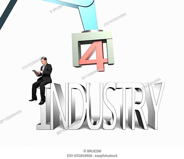 Industry 4. 0 concept. Man sitting on 3D text of industry 4. 0, using tablet to control robot arm, isolated on white background