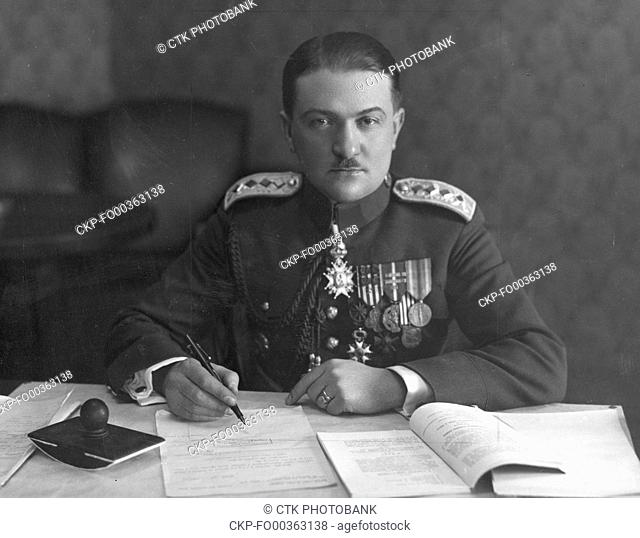Alois Elias, 1929, general of Czechoslovak Army, Prime Minister (1939-1941). Alois Elias was arrested on October 1, 1941 and executed on June 19, 1942