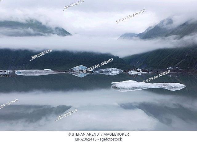 Ice floes on the Valdez Galcier lake, Valdez, USA, North America