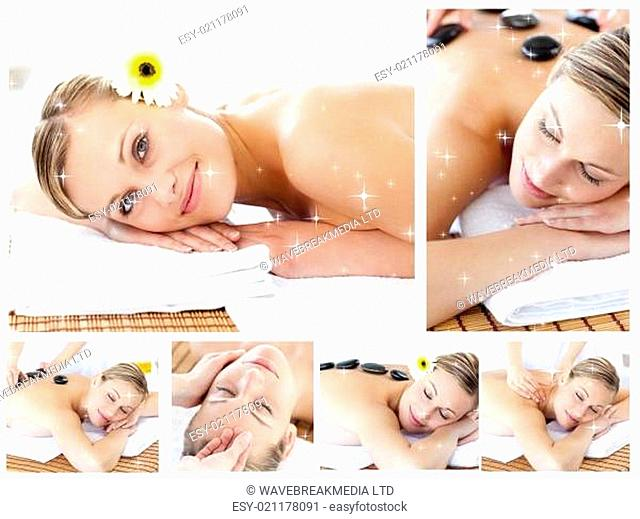 Composite image of collage of an attractive young girl being massaged