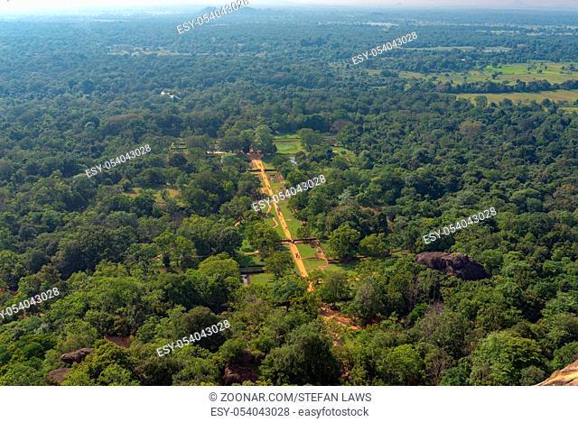 The gardens of Sigiriya, as seen from the summit of the Sigiriya rock