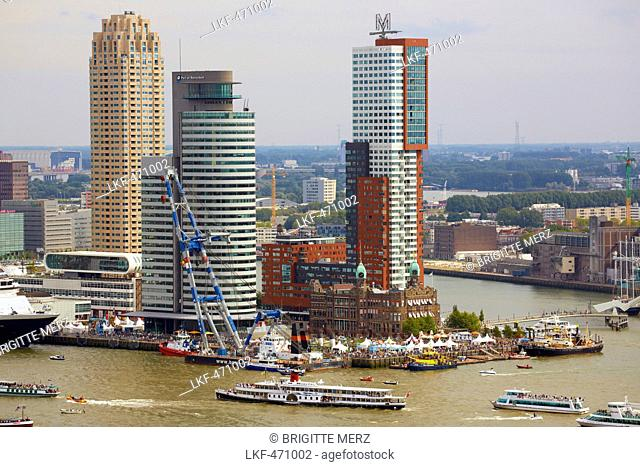 View from the Euromast Tower towards the harbour, the old Hotel New York, the new Skyline, Rotterdam, Province of Southern Nethe