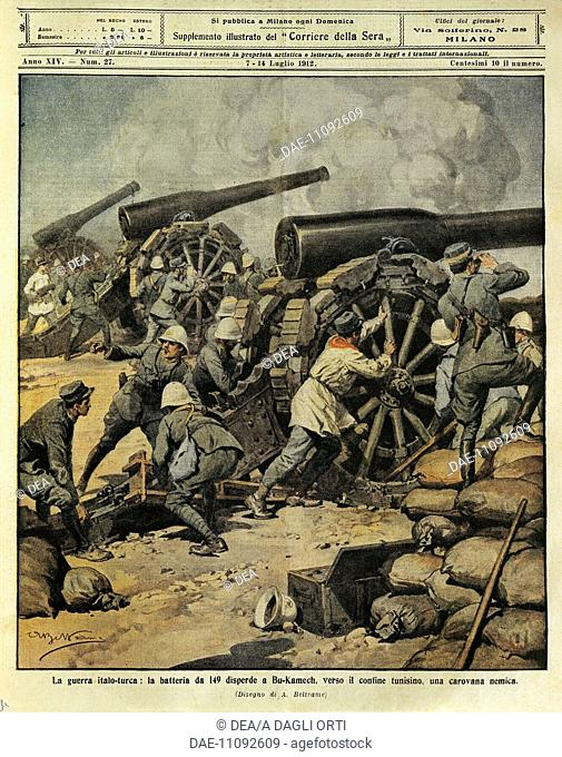 Italo-Turkish War: Battery fire from Cannon No. 149 routing an enemy caravan at Bu-Kamek towards the Tunisian border. Illustrator Achille Beltrame (1871-1945)