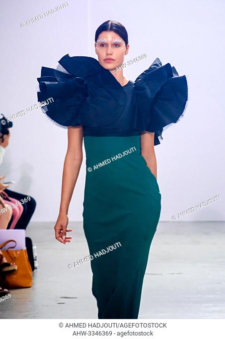 PARIS, FRANCE - July 02 : A model walks the runway at the Celia Kritharioti Show during the Paris Fashion Week Haute Couture Fall Winter 2019/2020 on July 02