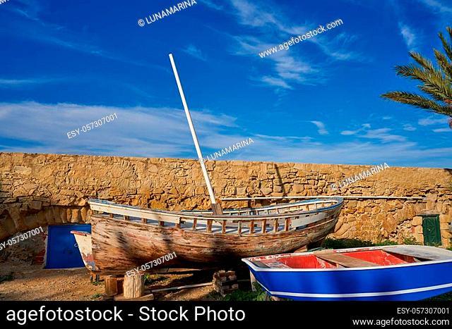 old boat in Nova Tabarca island of Alicante Spain