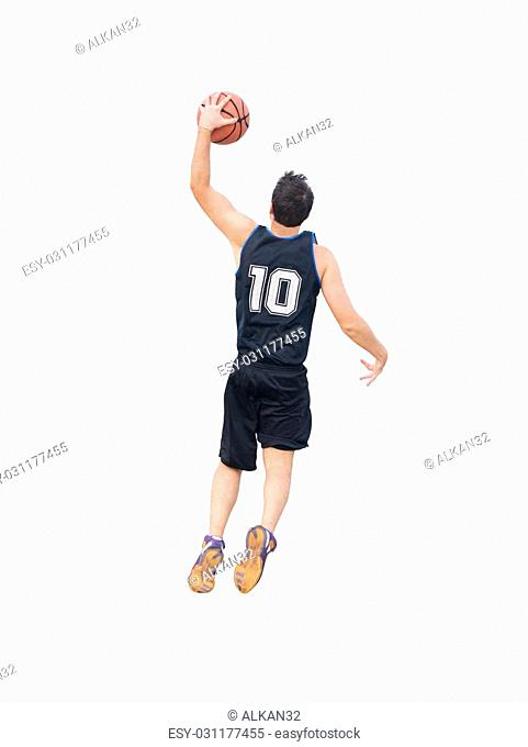 basketball player dunking on white background