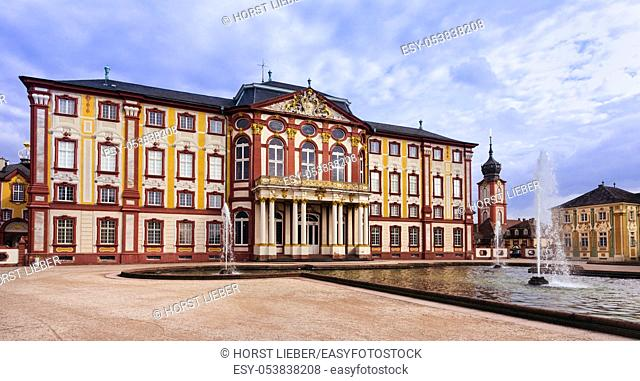 The residence in the public Bruchsal castle park, Baden-Wuerttemberg, Germany, Europe