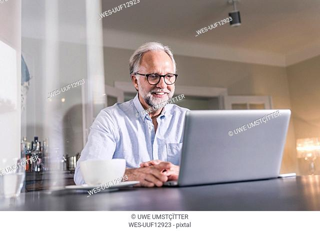 Portrait of smiling mature man sitting at table using laptop at home