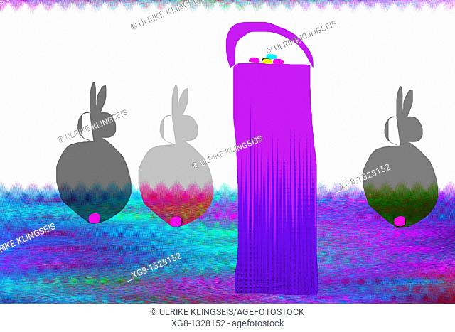 trendy easter-illustration, easter-card