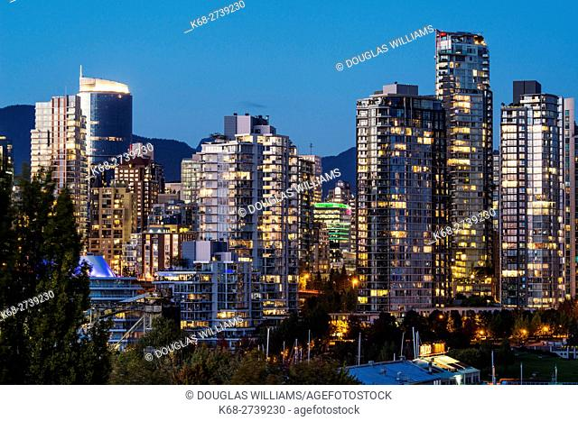 Apartment towers on the north side of False Creek in the evening, Vancouver, BC, Canada