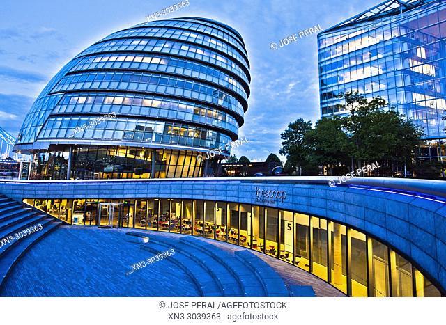 London City Hall, City Hall, The Scoop, More London, Riverside Southwark, London, England, UK, United Kingdom, Europe