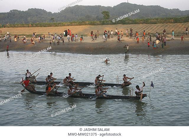 The annual Boat Race or Noukabaich on the Bagkhali river, organized by the Boat Race Competition Management Committee, in Ramu