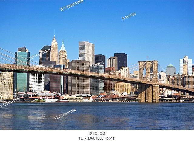 Urban bridge and cityscape