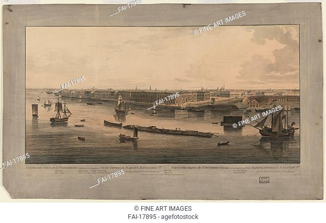 Panoramic view of Saint Petersburg. Atkinson, John Augustus (1775-1831). Etching, watercolour. Classicism. Between 1805 and 1807. Private Collection