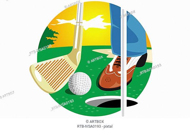 Golf club and a golf ball near a hole
