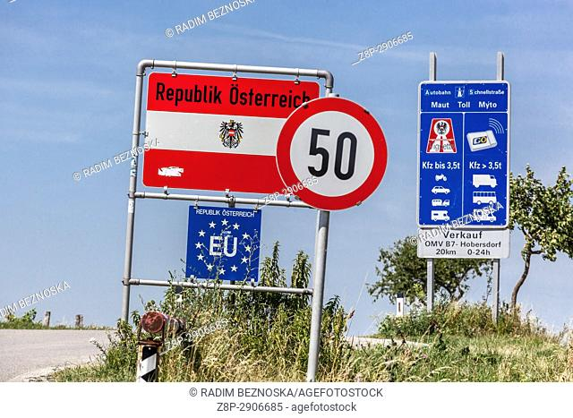 Signaling traffic signs for drivers enter the territory of Austria, the border with the Czech Republic, the European Union, Europe