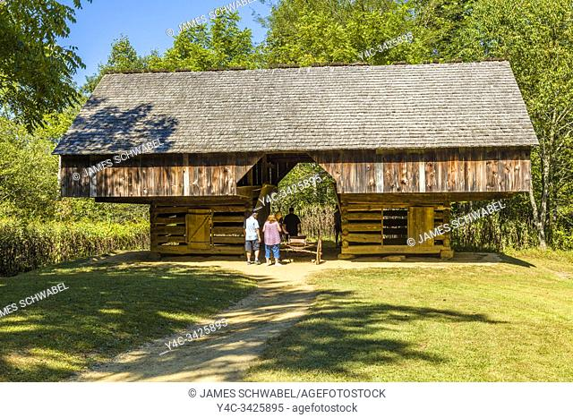 Cantilever barn at the Tipton house in Cades Cove in the Great Smoky Mountains National Park in Tennessee in the United States