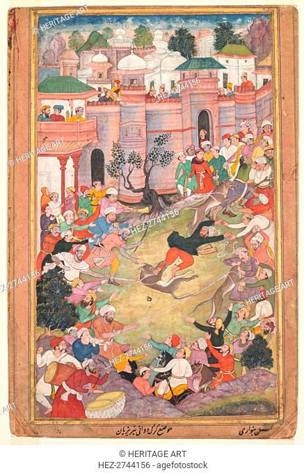 The game of wolf-running in Tabriz, from an Akbar-nama (Book of Akbar), c. 1595-1600. Creator: Banwari (Indian, active c. 1558-1600)