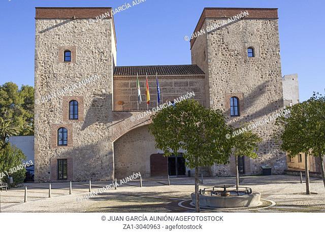 Badajoz Provincial Archaeology Museum facade, Spain. Former Palace of the Duque de Feria
