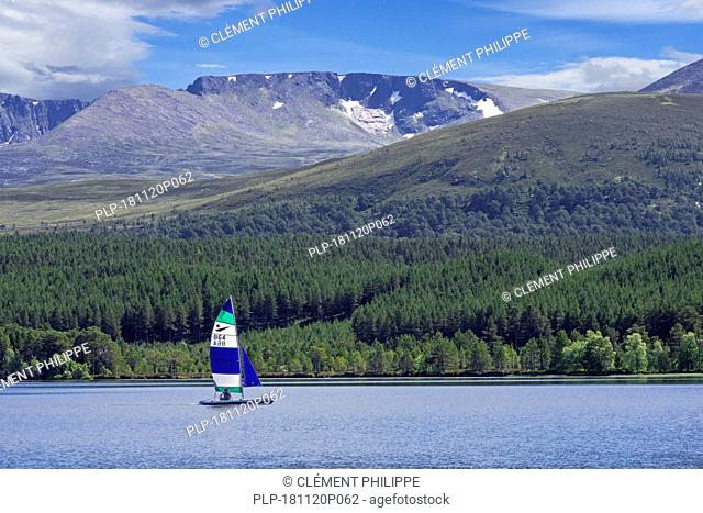 Sailing boat on Loch Morlich in front of the Cairngorm Mountains, Cairngorms National Park, Badenoch and Strathspey, Highland, Scotland, UK