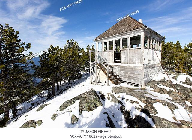 An abandoned fire lookout tower on Mount Hallowell, near Pender Harbour, British Columbia, Canada