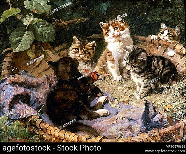 Adam II Julius - Kittens Frolicking in a Basket - German School - 19th and Early 20th Century