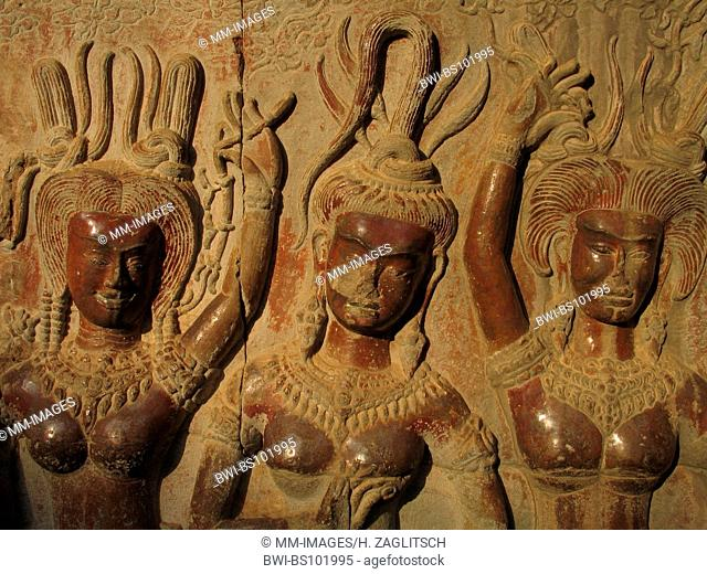 Khmer temple, Angkor Wat, relief, Cambodia