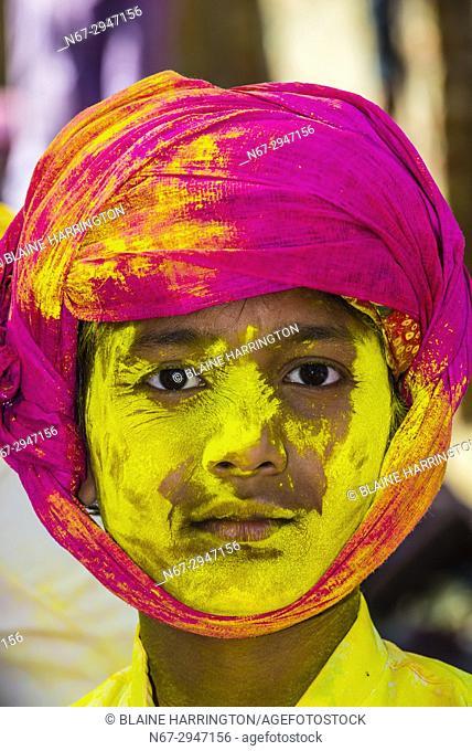 Lathmar Holi (Holi, Festival of Colors), Barsana, near Mathura, Uttar Pradesh, India
