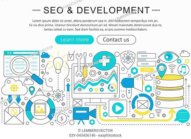 Vector elegant thin line flat modern SEO and development concept. Website header banner elements layout. Presentation, flyer and poster