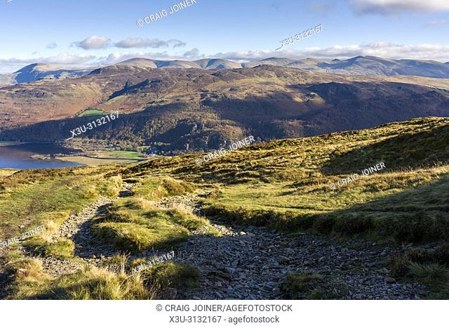 Maiden Moor with the Borrowdale Valley and Ashness Fell beyond in the Lake District National Park, Cumbria, England