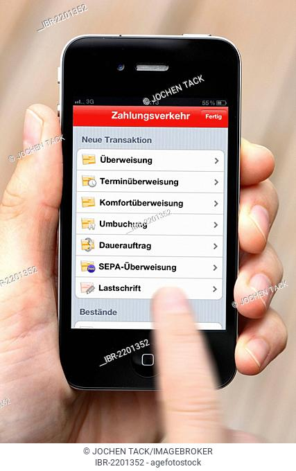 Iphone, smartphone, app on the screen, online banking, Sparkasse