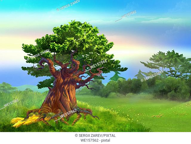 Solitary Oak Tree in a meadow in a sunny day. Digital Painting Background, Illustration in cartoon style character