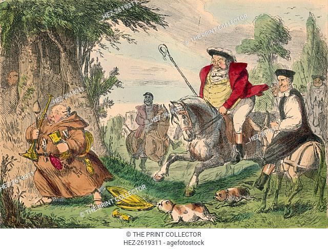 Henry VIII Monk Hunting, 1850. Artist: John Leech