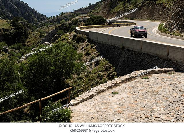 Road at the top entrance to the Imbros gorge in Crete, Greece