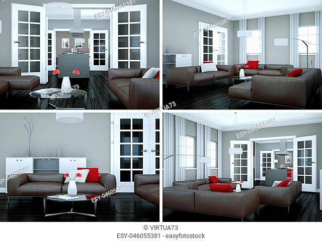 Four views of modern interior loft design 3d Illustration