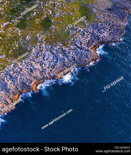 Aerial View, Karst, Islares, Cantabrian Sea, Cantabria, Spain, Europe