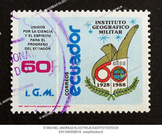ECUADOR - 1988: Stamp printed in Ecuador shows a national symbol, 1988