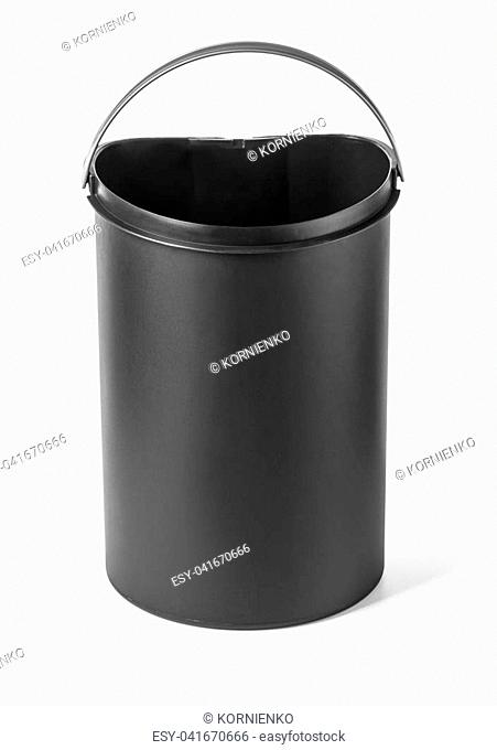 black plastic bin isolated on white with clipping path