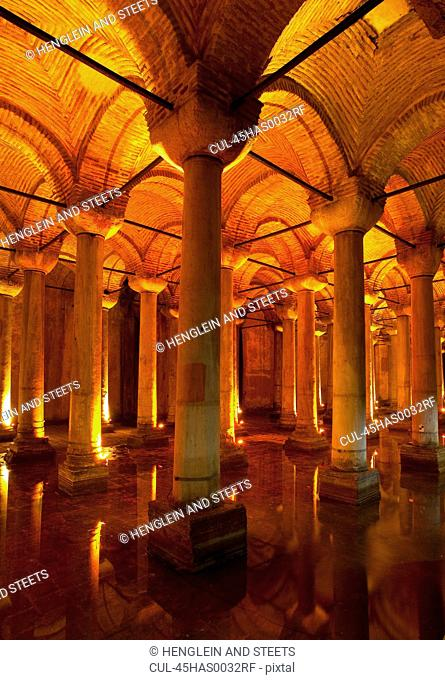 The byzantine Basilica Cistern, Istanbul, Turkey