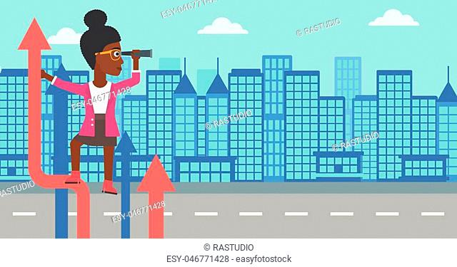 An african-american business woman standing on the top of arrow and looking through spyglass on the background of modern city