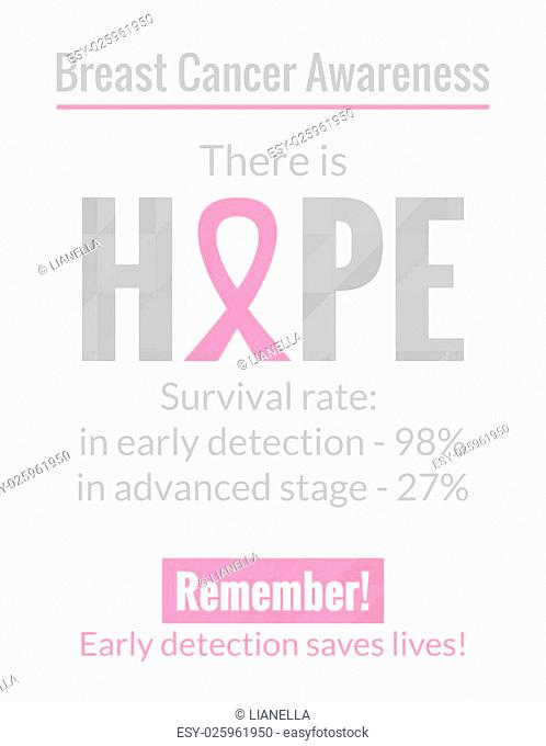Breast Cancer October Awareness Month Campaign Poster. Healthcare and medicine concept. Vector illustration