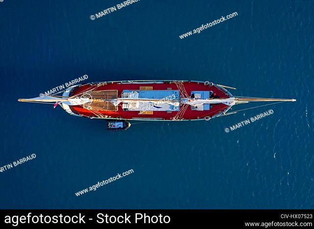 View from above ship on sunny blue ocean