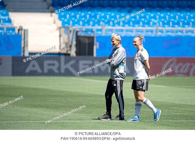 16 June 2019, France (France), Montpellier: Football, women: World Cup, national team, Germany, stadium inspection at the Stade de la Mosson: Thomas Nörenberg