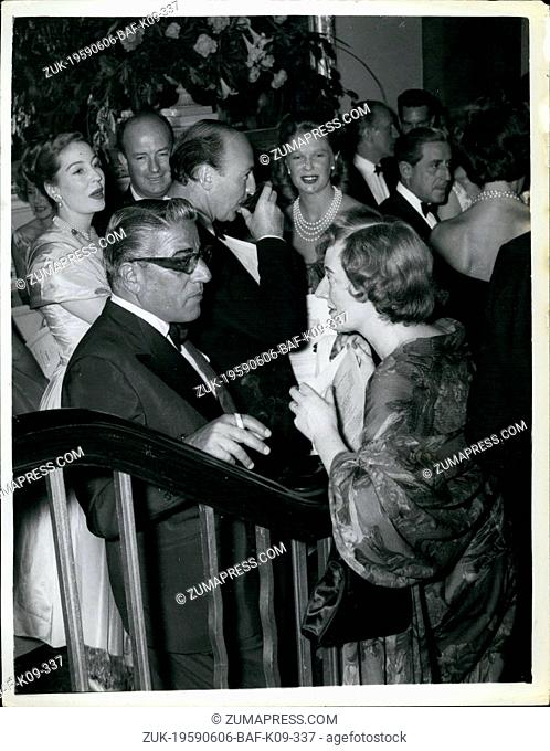 Jun. 06, 1959 - Aristotle Onassis gives celebration party to for maria calla's triumphant performance in 'Medea'. magnificent opera star Maria callas gave a...