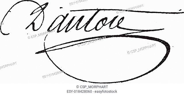 Signature of Georges Jacques Danton (1759-1794), vintage engraving
