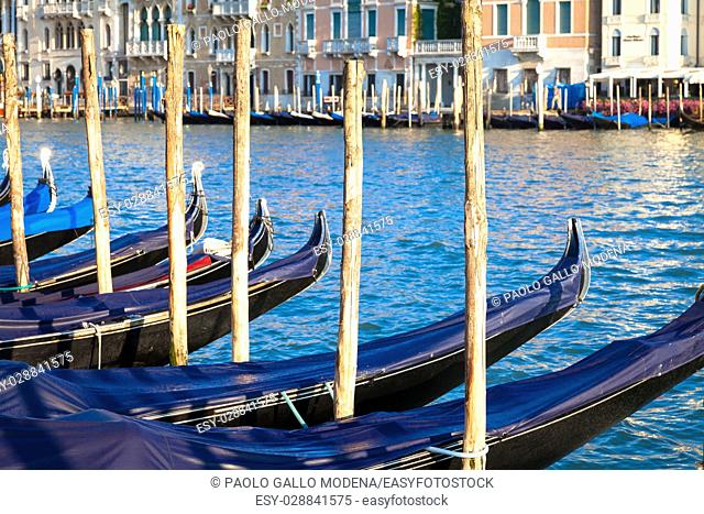 The gondola is a traditional, flat-bottomed Venetian rowing boat, very famous landmark of Venice town