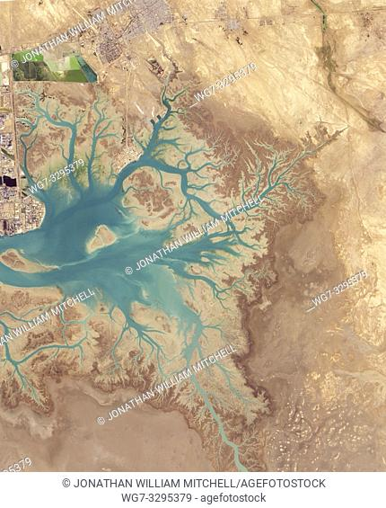 EARTH IRAN Musa Bay-- 20 Jan 2015 -- Before draining into the Persian Gulf, several rivers and streams in southern Iran converge into Musa Bay