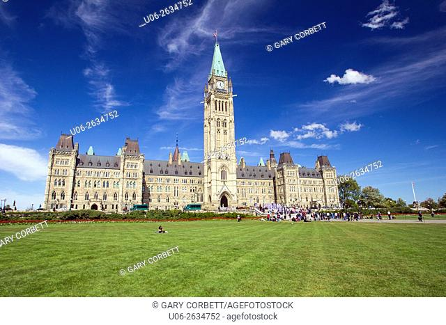 The Canadian Parliament buildings in Ottawa